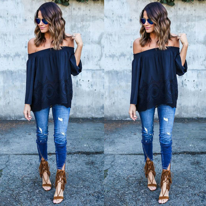 White Sexy Women Off Shoulder Casual Loose Long Sleeve Lace Tops Blouse
