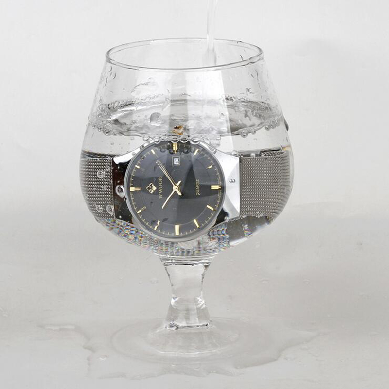 Mens WWOOR Brand Casual Waterproof Watch Stainless Steel Mesh Strap Simple Date Quartz Wrist Watches