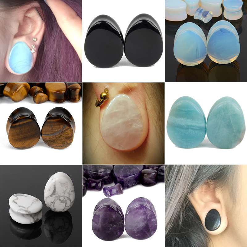 Pair of Organic Natural Opal Stone Gauges Ear Plugs Skin Flesh Double Flared