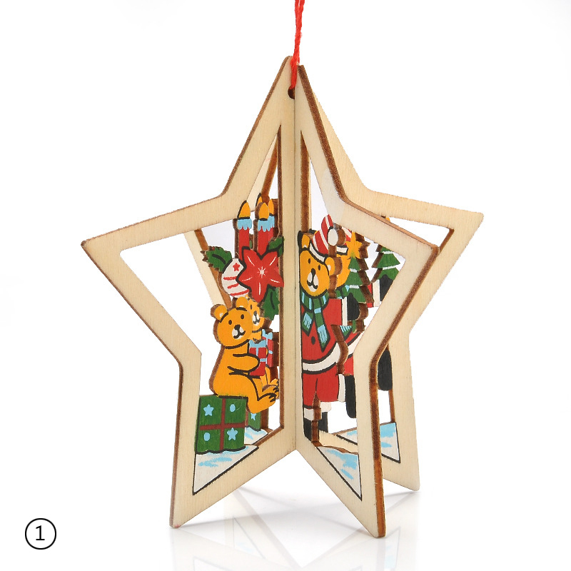 1PC Durable Wooden Design Christmas Trees Bells Stars Pendants Hanger Decor
