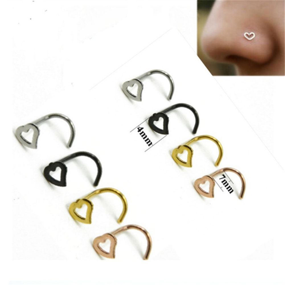 Fashion Punk Stainless Steel Love Nose Ring Stud Earring Nostril Hoop Women Accessories Jewelry