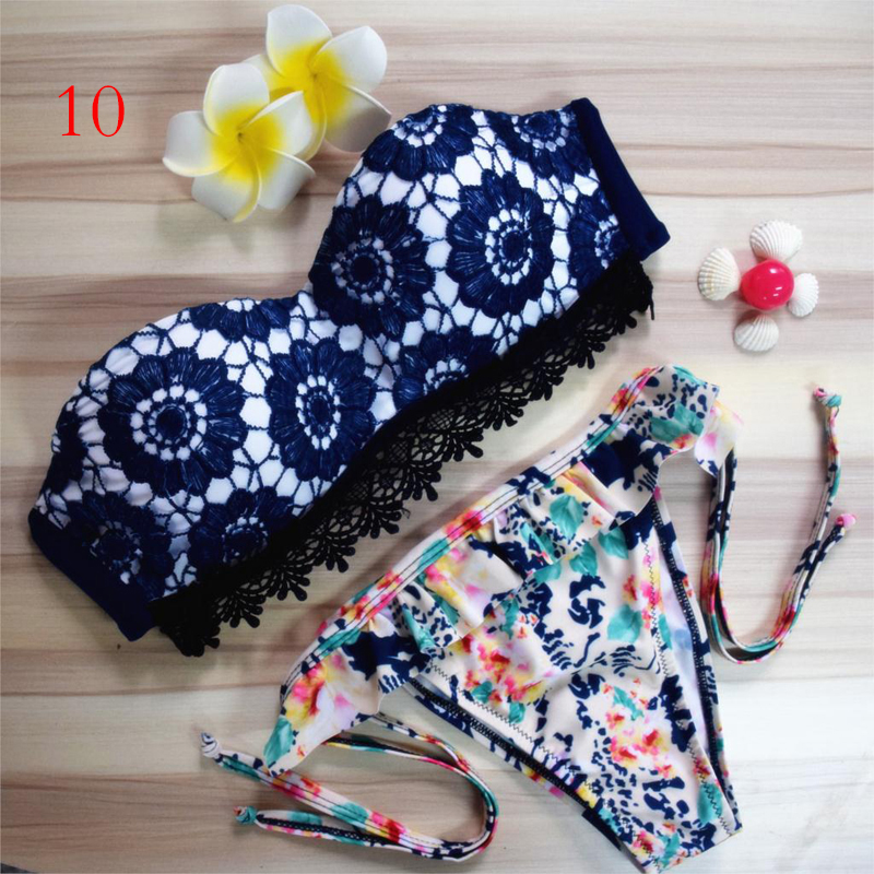 Women's Bikini Set Sexy Bra Floral Swimsuit Push-up Printed Swimwear Beach