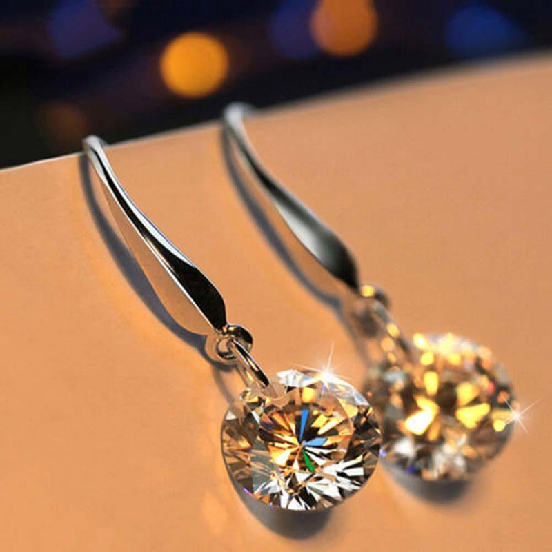 Fashion 925 Sterling Silver Women Crystal Rhinestone Ear Stud Earring Jewelry