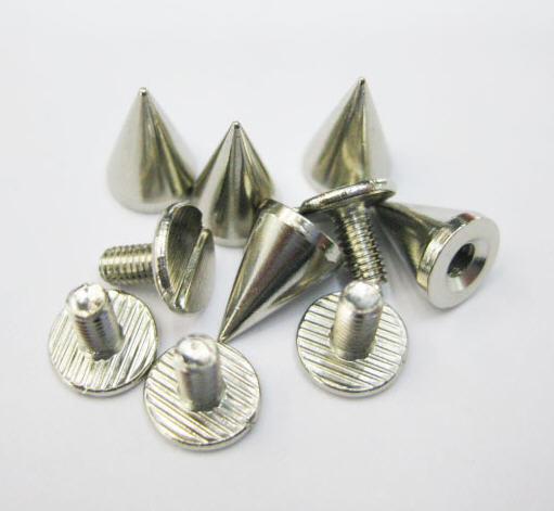 10Pcs 10mm Metal Cone Screwback Spikes Stud Punk Bracelet Leather Bag Cloth Shoe