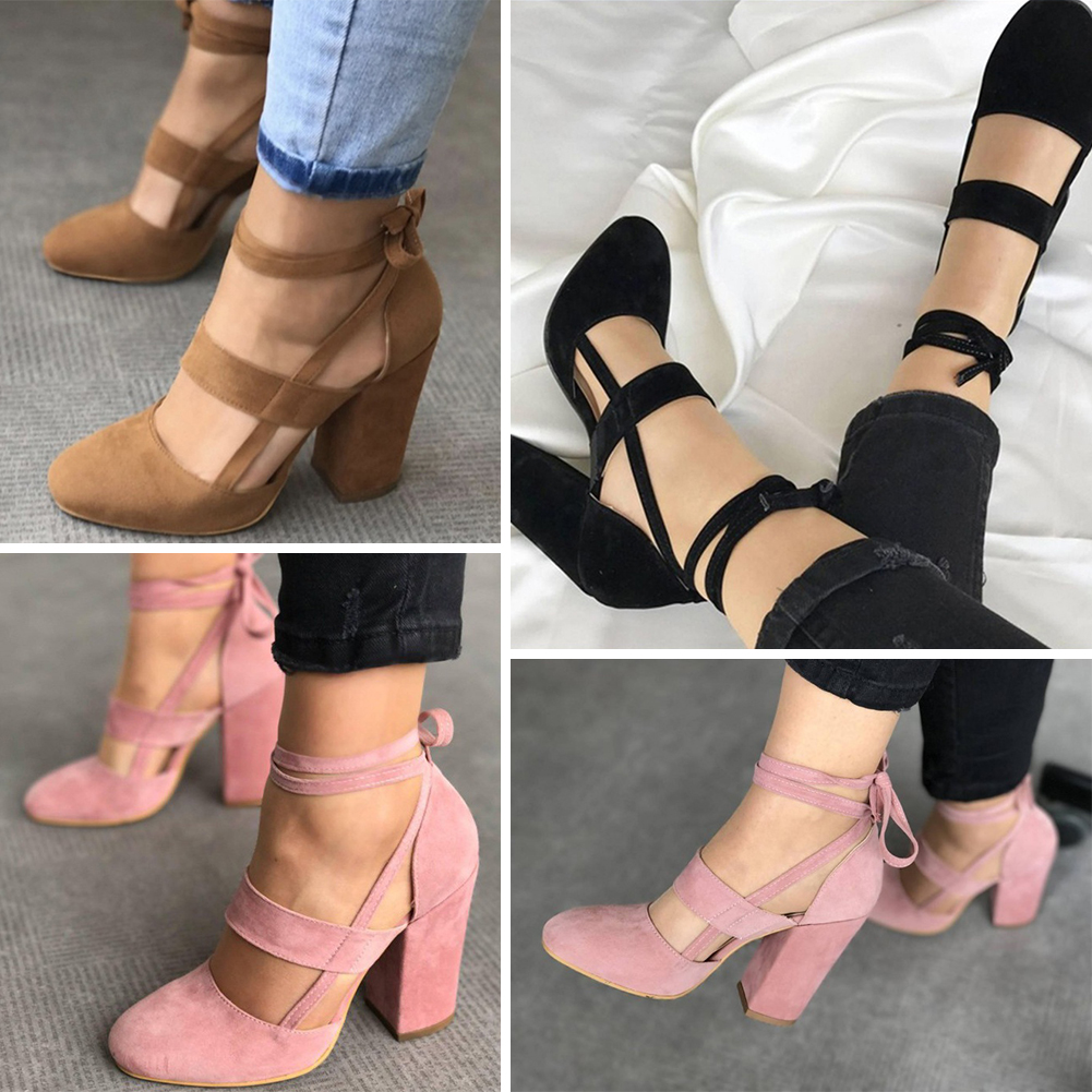 2017 Women Sexy Heels Suede Straps Thick High Heeled Shoes Summer Party Sandals 3 Colors