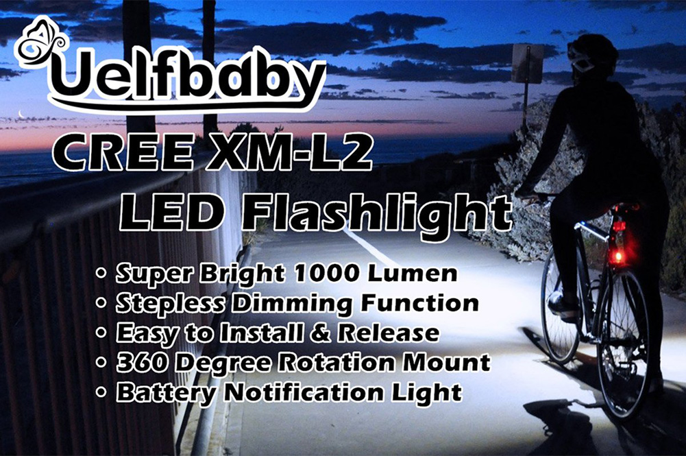 Mountain Bike USB Charging T6 / L2 Flashlight LED Rechargeable Bicycle Headlight