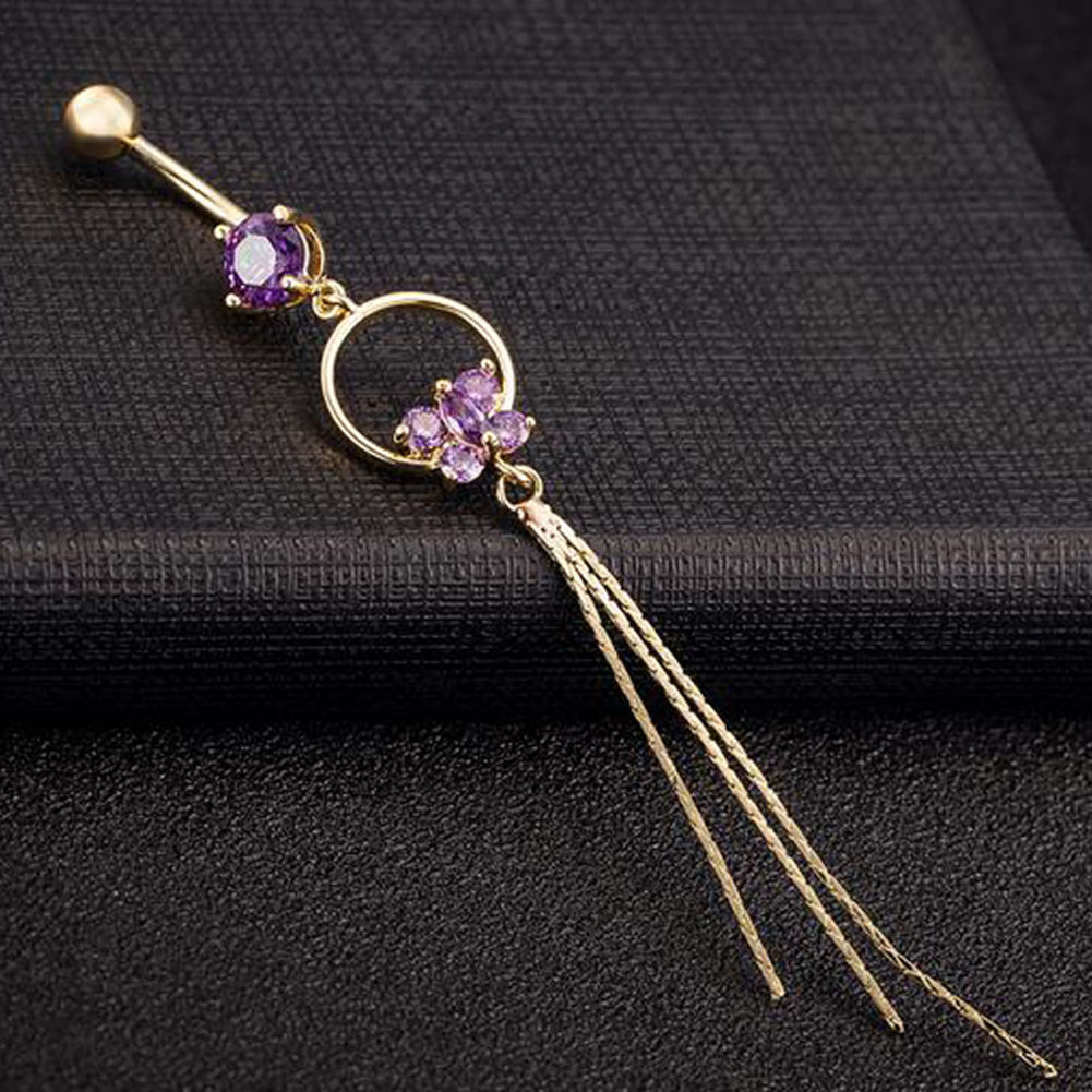 Fashion Butterfly Belly Navel Button Ring Bar Tassel Cubic Zirconia Stainless Steel Surgical Body Piercing Jewelry