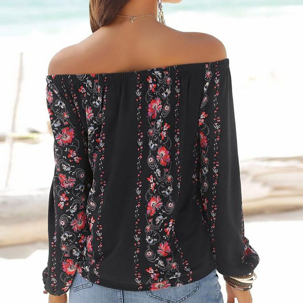 ISHOWTIENDA 2018 Fashion Top Summer Blouse Women Long Sleeve Floral Print Off Shoulder Slash-neck Blouse Shirt Koszula Damska