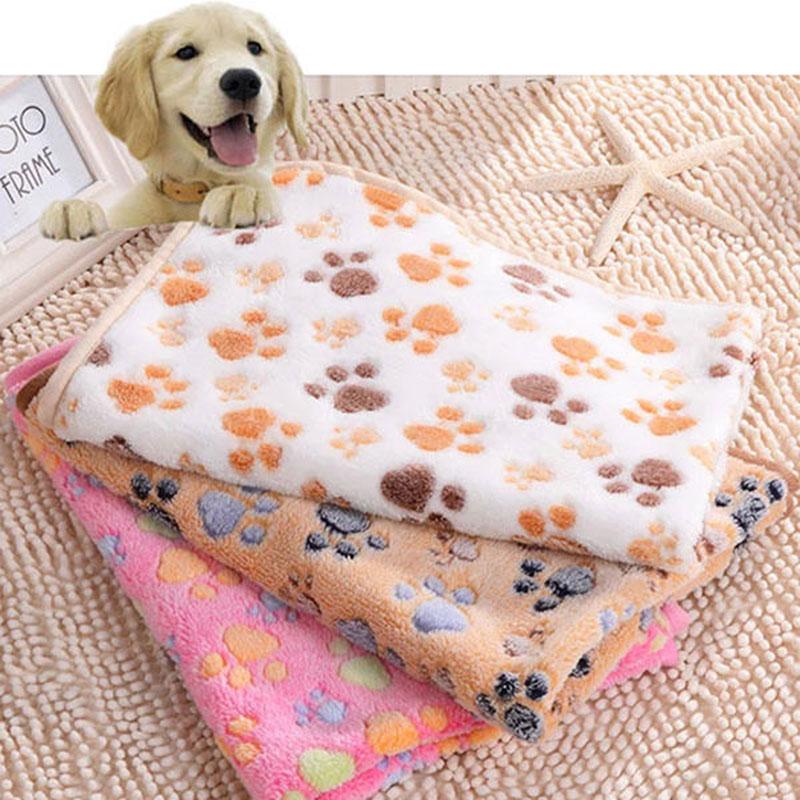 76x52cm Pet Small Large Warm Paw Print Dog Puppy Cat Fleece Soft Blanket Beds Mat S