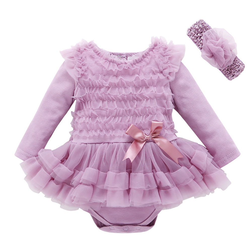 Baby girl infant Headband+floral princess toddler romper children clothes