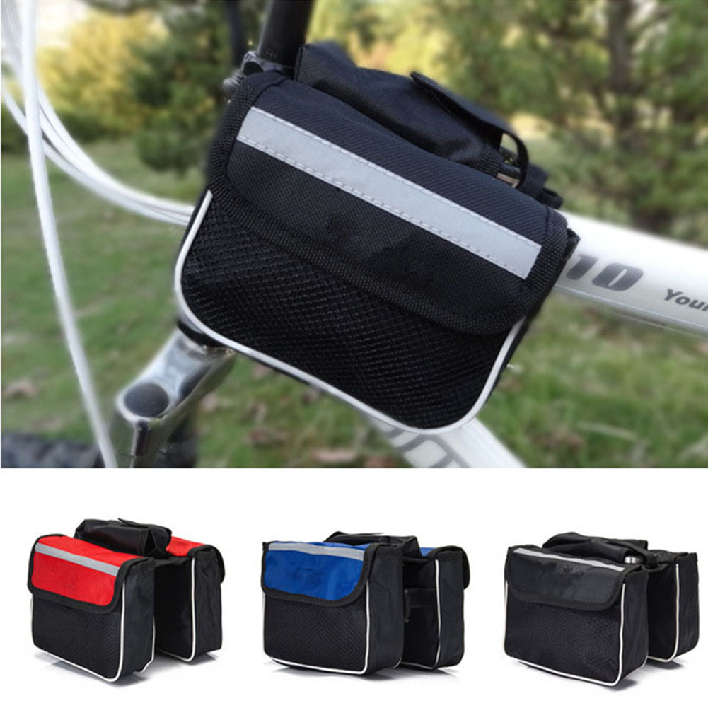 Cycling Double Side with Mobile Phone Pouch Bike Frame Pannier Bag Rack Popular Bicycle Top Tube Saddle Bag