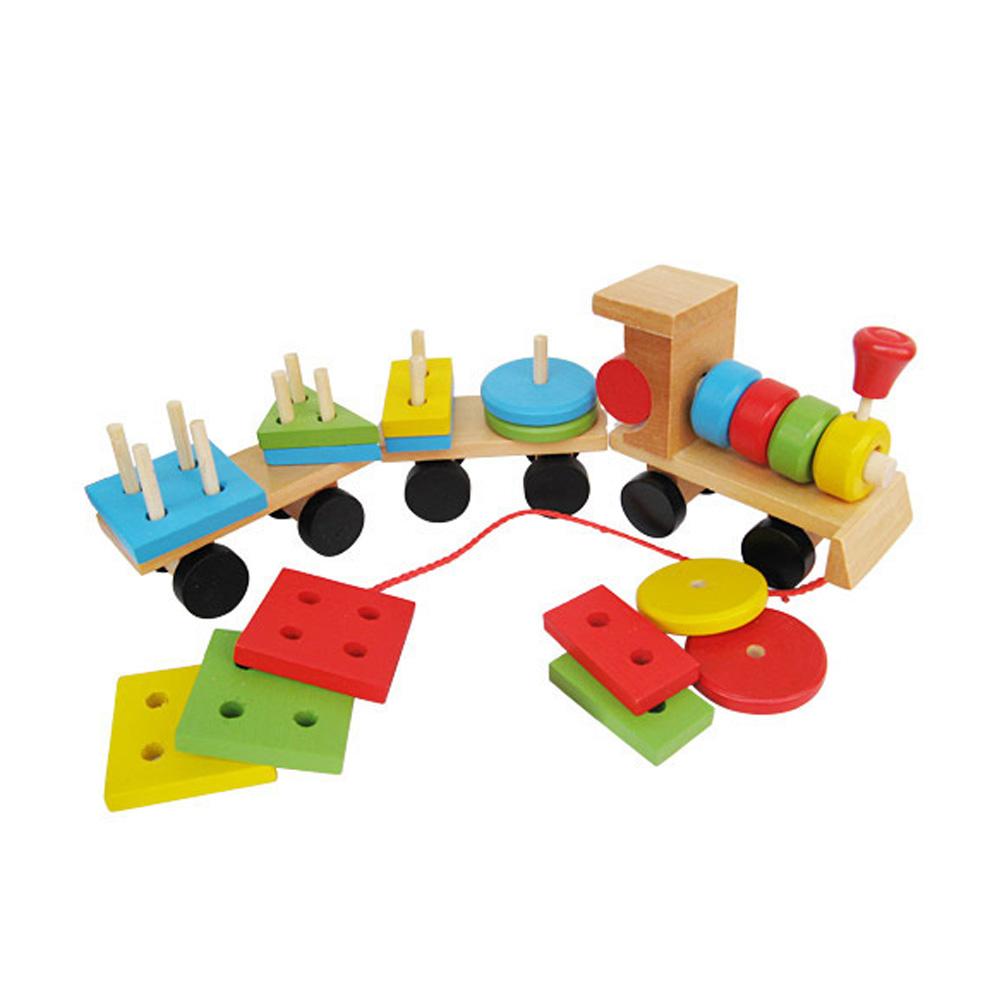 Baby Toys Kids Trailer Wooden Train Vehicle Blocks Geometry/Colour Congnitive Blocks Child Education Birthday Festivals Gift