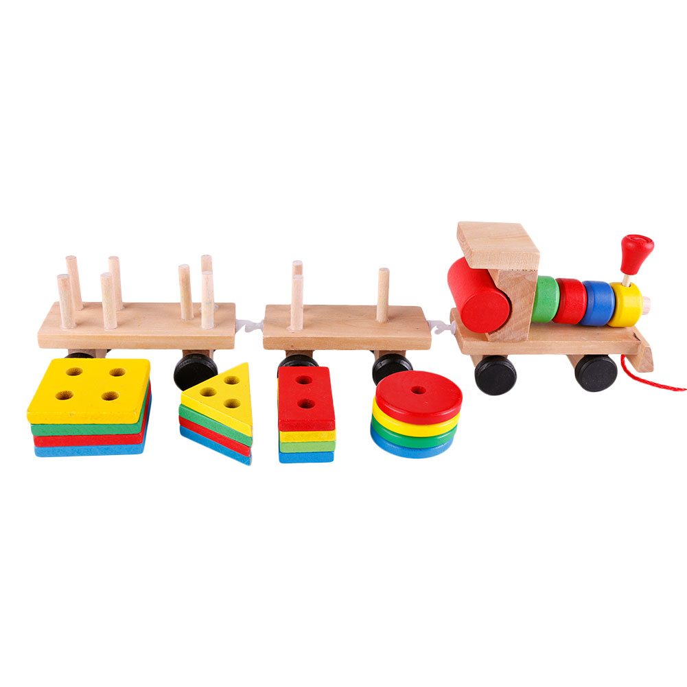 Baby Toys Kids Trailer Wooden Train Vehicle Blocks Geometry/Colour Congnitive Blocks Child Education Birthday Festivals Gift