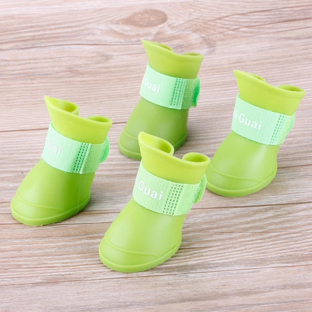 4Pcs Pet Dog Rain Shoes Dogs Waterproof Rubber Booties Durable Cat Shoes S Size