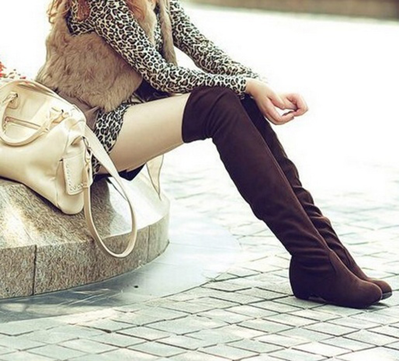 Fashion Sexy Knee High Shoes Low Heel Winter Autumn Slip-on Leisure Folding Women Boots