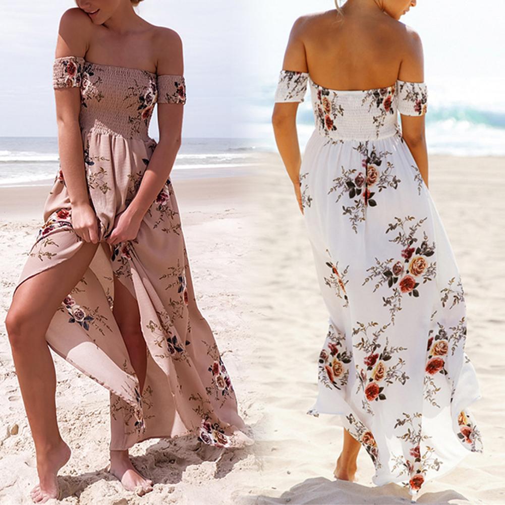 2017 Fashion Women Off Shoulder Boho Long Maxi Party Summer Beach Dress Floral Sundress