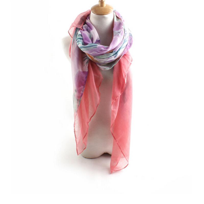 Boho Women Voile Palm Flower Printed Scarf Shawl Wrap Large Elegant Versatile
