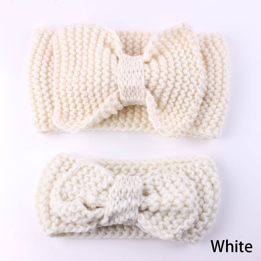 7 colors Newly Baby Mom Headband Elastic Tutu Newborn Tuban Ear Warmer Headband Crochet Knitted Bow Headwear Wreath Bands Accessories