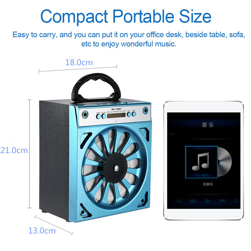 MS-156BT Wireless Bluetooth Speaker Loudspeaker Support MicroSD/TF Card/MP3/FM Radio