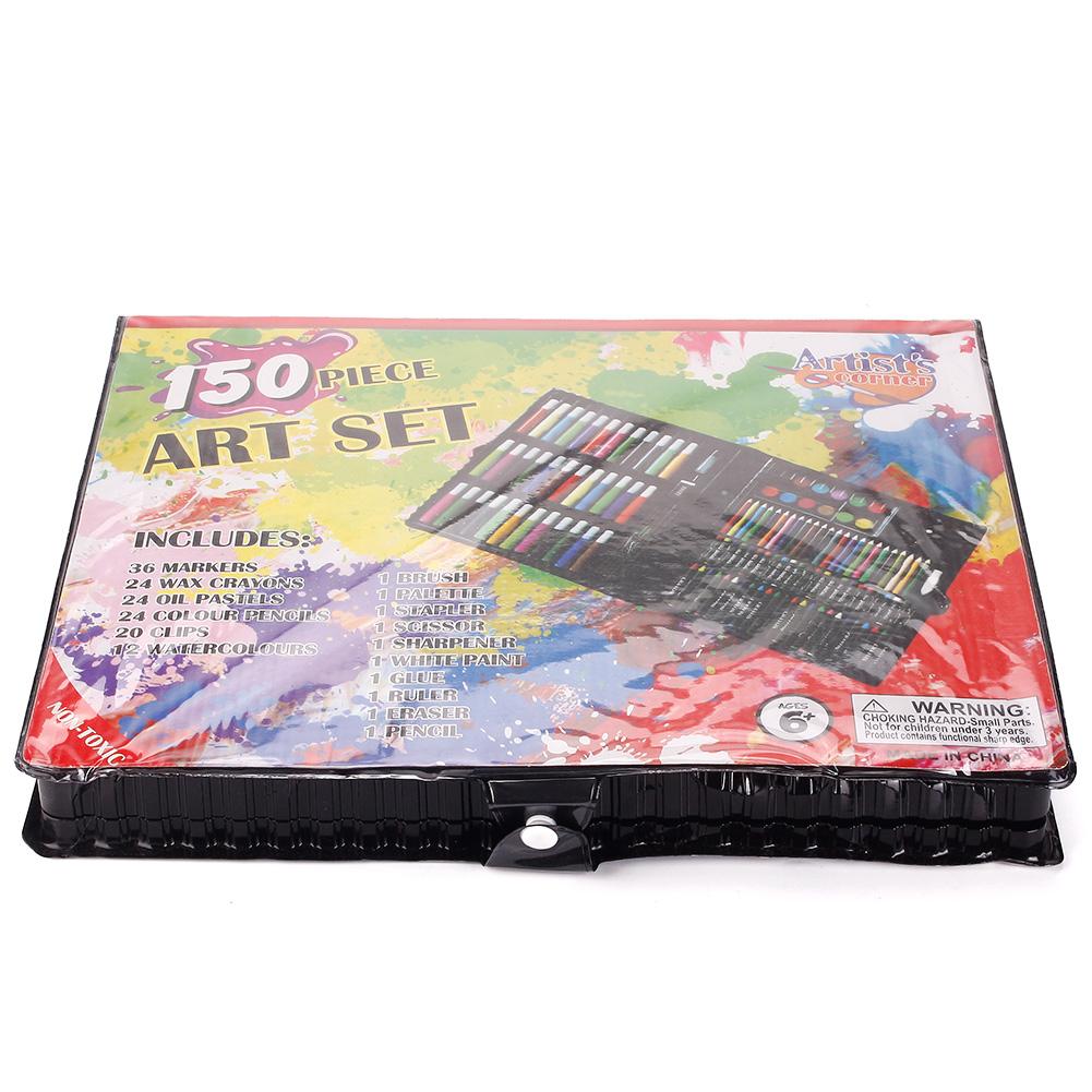 150pcs Drawing Art Set Painting Color Artist Kit Pencil Pastel Plastic Case