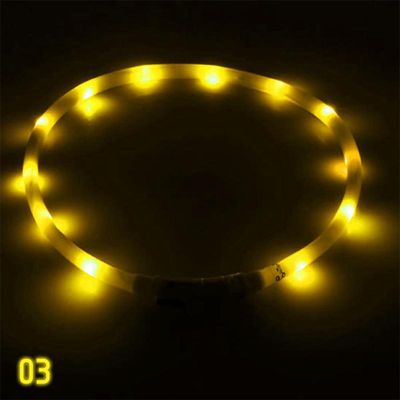 USB Rechargeable LED Flashing Light Pet Collar Band Waterproof Dog Cat Belt