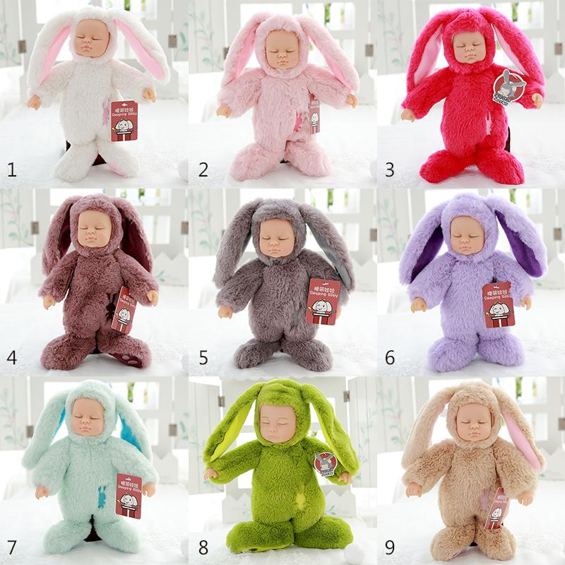 Cute New Reborn Simulation Sleep Baby Doll Baby Rabbit Shaped Plush Toys Birthday Gift