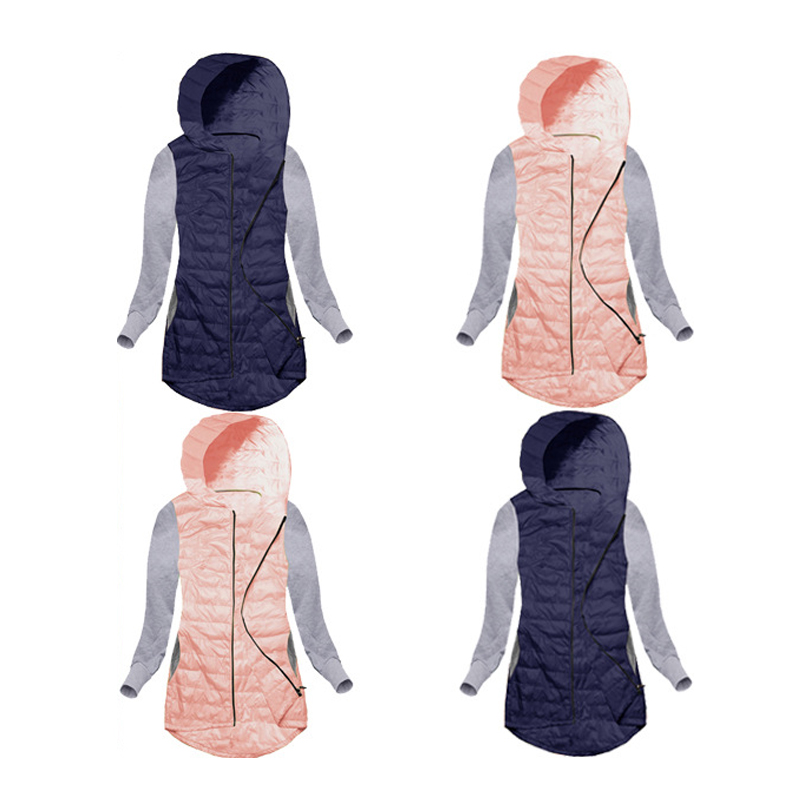 Winter Fashion Ladies Quilted Padded Hooded Hoody Outwear Warm Thin Patchwork Women Jacket Coat