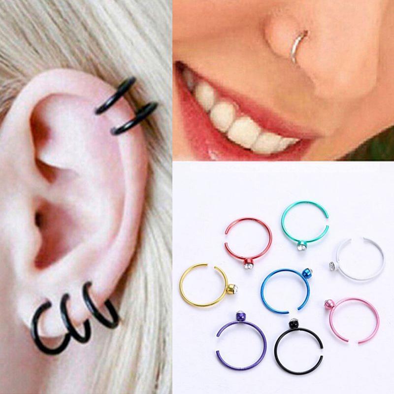 60x//Set Rhinestone Nose Ring Bone Stud Stainless Steel Body Piercing Jewelry  SG
