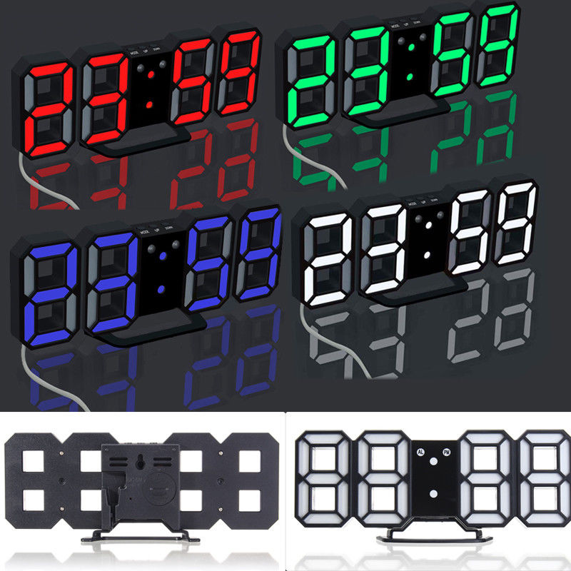 Modern Digital LED Table Desk Night Wall Clock Alarm Watch 24 or 12 Hour Display 4 LED Colors Choice